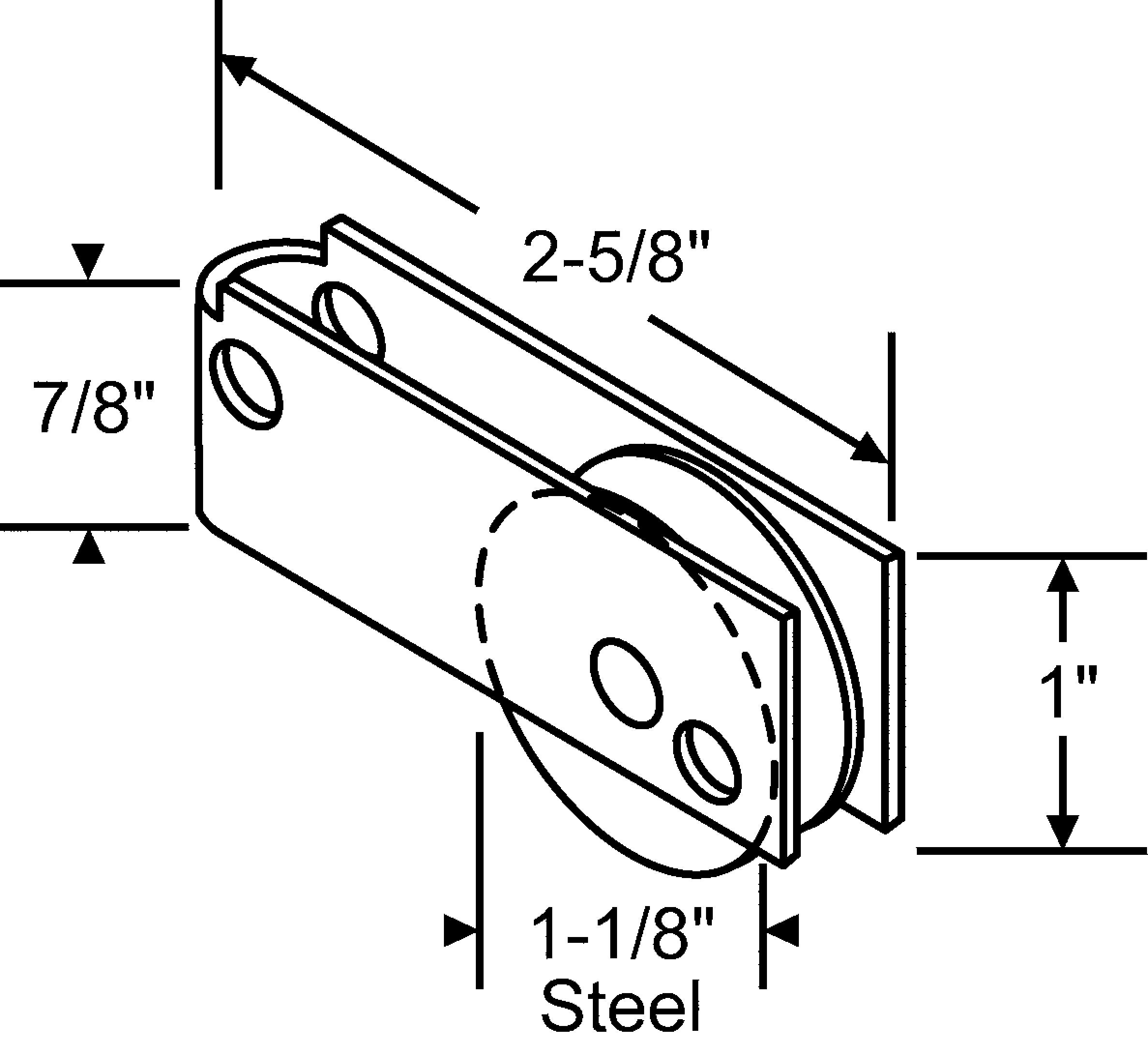 stamped- glass door rollers- capitol top hole  9-279